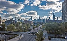Обои машины, движение, улица, небоскребы, Чикаго, USA, Chicago