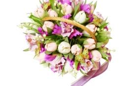 Обои фото, Цветы, Тюльпаны, Букет, Орхидеи