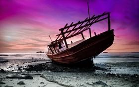 Обои закат, корабль, море