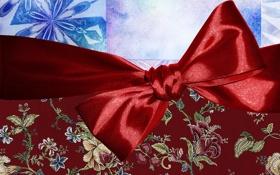 Обои красный, праздник, новый год, бантик, ленточка, упаковка