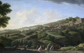 Картинка небо, деревья, пейзаж, люди, холмы, вилла, картина