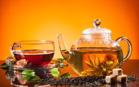 Обои чайник, сахар, sugar, tea, tea leaves, листики чая, заварной чай