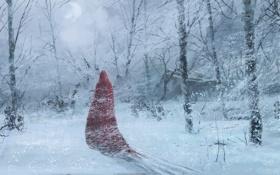 Обои лес, деревья, фигура, зима, арт, снег, плащ