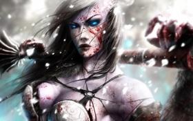 Картинка девушка, кровь, death knight, лицо, ветер, воин, зима