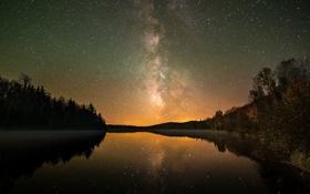 Картинка небо, космос, звезды, свет, деревья, озеро, отражение