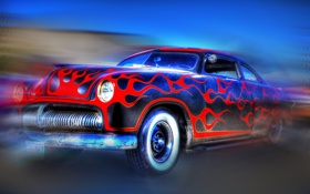 Обои ретро, пламя, коллаж, узор, автомобиль, бампер