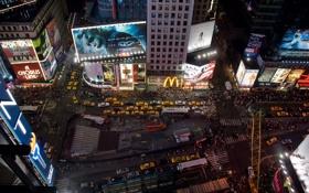 Картинка ночь, город, new york, times square