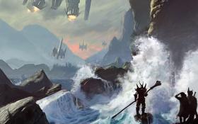 Картинка волны, небо, горы, река, корабли, доспехи, Человек