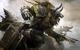 Обои concept art, монстр, Engineer, рога, Guild Wars, оружие