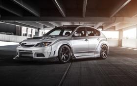 Обои Subaru, Impreza, парковка, front, silvery, race car, обвес