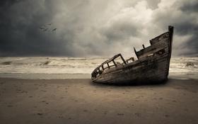Обои чайки, пляж, гроза, волны, серые облака, лодки, море