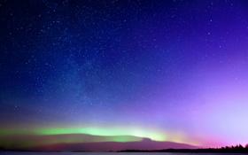 Обои небо, звезды, северное сияние, горизонт