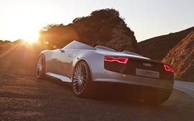Обои закат, задняя часть, Audi, авто, машина, горы, E-tron