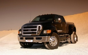 Обои Ford, Черный, Пикап, Пустыня, F-650, Песок, Форд