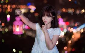 Картинка девушка, ночь, фонарь