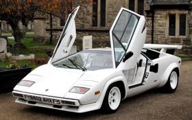 Обои дом, Lamborghini, Countach P500 S, белый