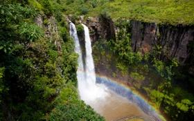 Обои водопад, радуга, африка