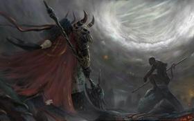 Обои рога, доспехи, демон, небо, войско, Воин, свет