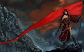 Картинка небо, девушка, оружие, фантастика, скалы, меч, арт
