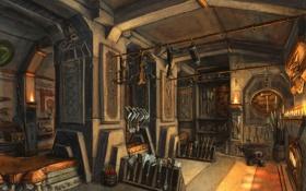 Обои оружие, свечи, колонны, печь, помещение, кузница