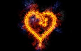 Обои фон, огонь, чёрный, сердце, Flame Heart