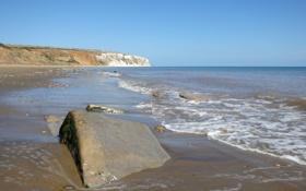 Картинка песок, пляж, камни, побережье, Великобритания, пролив Сандаун, Yaverland Road