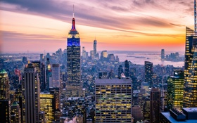 Картинка огни, Нью-Йорк, сумерки