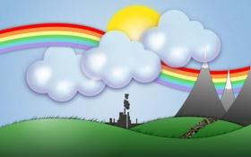 Обои настроение, обои, рисунок, радуга, вектор, светлые, Графика