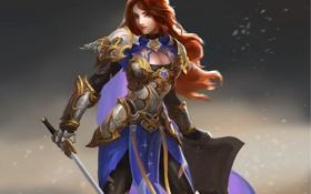 Обои девушка, меч, доспехи, воин, арт, щит, красные волосы