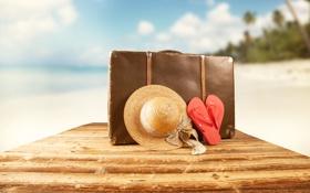 Обои песок, море, пляж, лето, солнце, отдых, шляпа