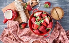 Картинка ваниль, клубника, скатерть, Anna Verdina, ягоды, тарелка, сахар