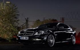 Обои Mercedes, Benz, 2012, AMG, Black, Coupe, C63