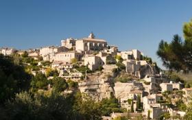 Обои пейзаж, горы, скалы, Франция, городок, Provence, Gordes