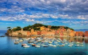 Обои небо, облака, город, фото, побережье, Италия, катера