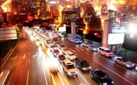 Картинка дорога, город, движение, транспорт, дома, ночь. огни