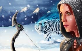 Картинка холод, зима, девушка, снег, горы, лицо, оружие