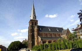 Обои башня, церковь, Бельгия, Protestants-Evangelische Kerk Landen