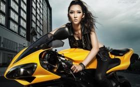Картинка мотоцикл, азиатка, Yamaha YZF-R1, Kelly Khoa Nguyễn