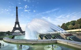 Картинка Париж, Paris, фонтаны, France, Елисейские поля, Eiffel Tower