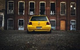 Обои желтый, volkswagen, гольф, вид сзади, golf, фольксваген, MK4
