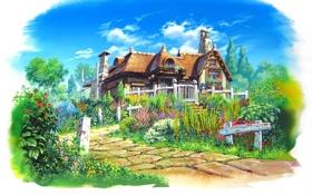 Обои magewappa z, пейзаж, дорожка, особняк, арт, зелень, дом