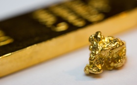 Обои gold bullion, gold in its natural state, metal
