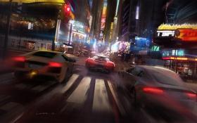 Обои машины, ночь, город, гонка, арт, drive