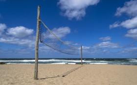 Обои море, пляж, сетка