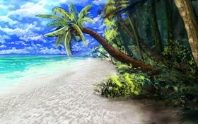 Обои море, пляж, тропики, пальмы, океан, арт