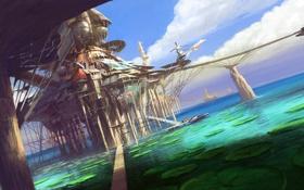 Обои листья, мост, город, пруд, будущее, вертолет, круглые