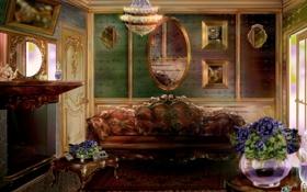 Обои картины, камин, зеркала, живопись, арт, диван, интерьер