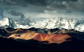 Картинка облака, свет, снег, горы, китай, China, тени