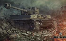 Обои разрушения, Тигр, Германия, танк, камуфляж, танки, Germany