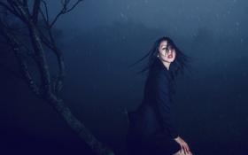 Картинка девушка, ночь, дождь
